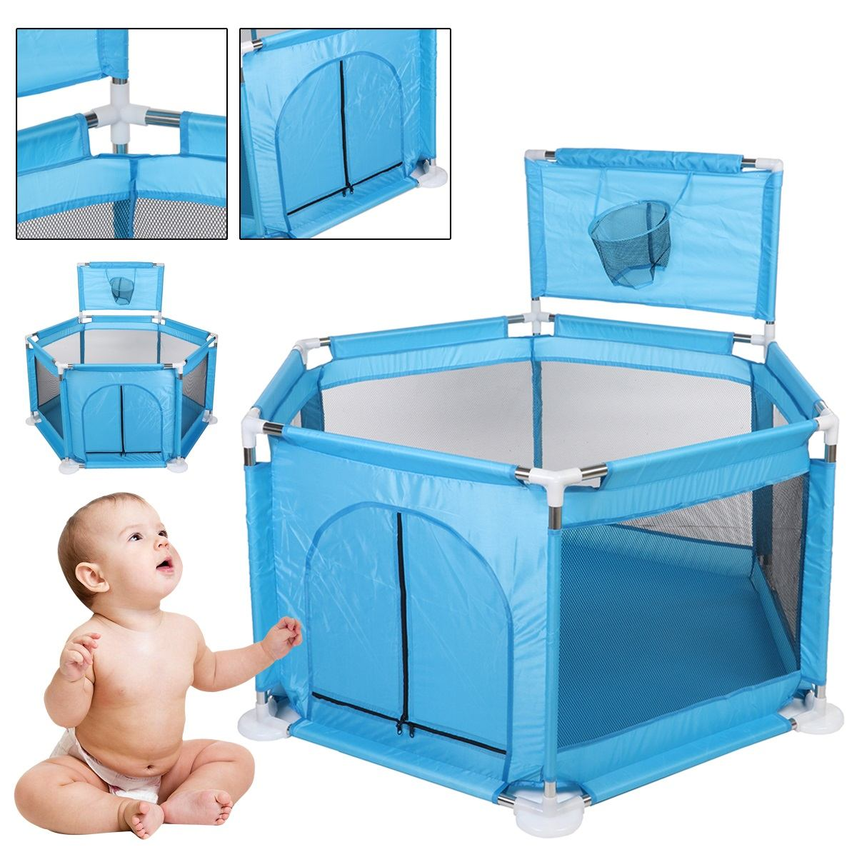 Kids Furniture Playpen Baby Playpen Dry Ball Pool Swimming Pool Safety Barriers Baby Playground Ball Park For 0-3 Years Children