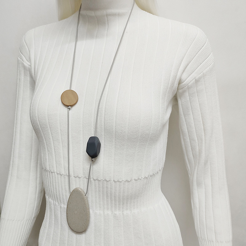 Fashion long necklace Imitation stone jewelry wooden necklace handmade accessories