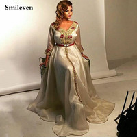 Smileven Moroccan KaftanFormal Evening Dresses Crystal Beading Duiba Special Occasion Gowns 3/4 Long SleeveEvening Party Gowns