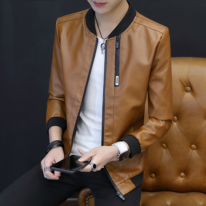 2019 Autumn New Style MEN'S Leather Coat Teenager Casual Fashion PU Leather Jacket Korean-style Slim Models Leather Coat