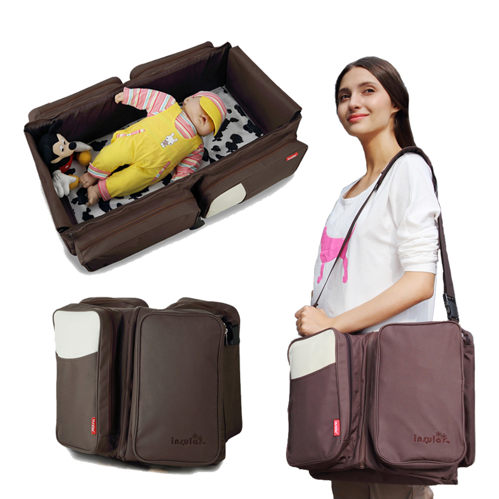 2 In 1 Baby Portable Cot Outdoor Multifunctional Nappy Diaper Bag Travel Portable Bed Mummy Maternity Backpack Newborn Crib
