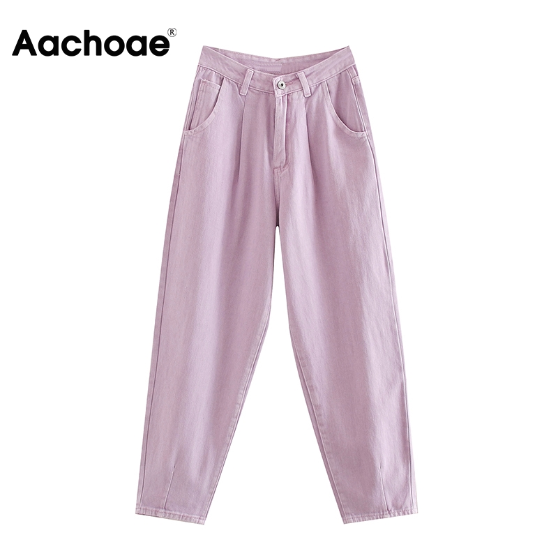 Women Solid Loose Cowboy Jeans Baggy Pleated Harem Pants Female High Waist Full Length Casual Trousers Lady Zipper Fly Bottoms