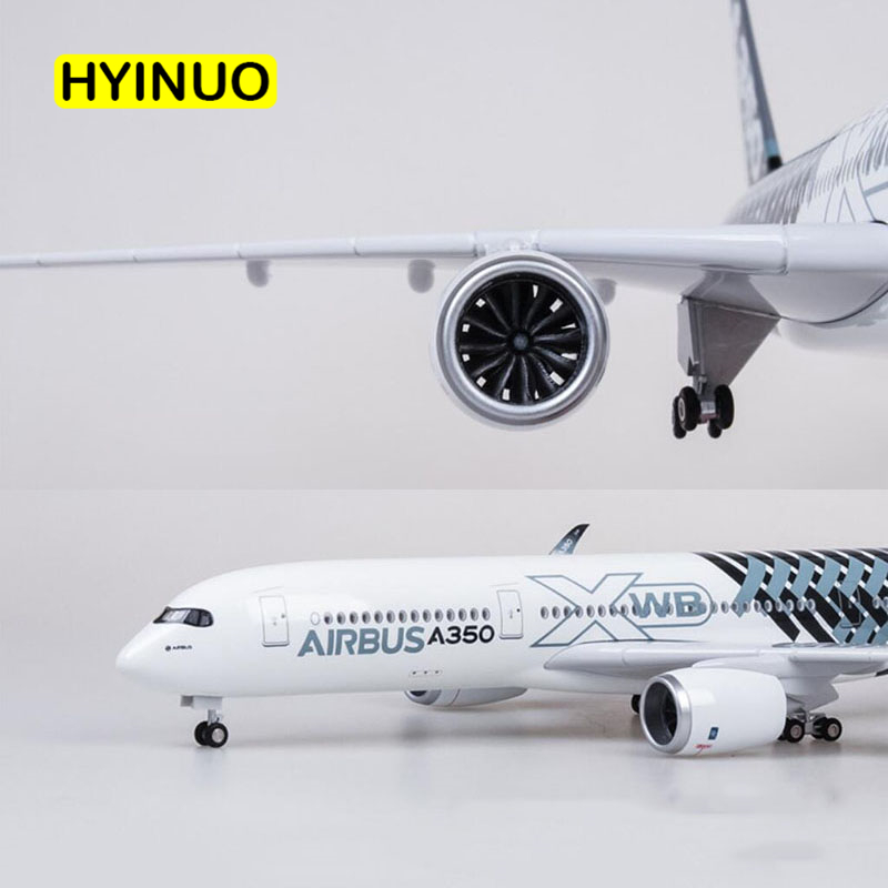 47CM 1/142 Scale Airplane Airbus A350 Prototype XWB Airline Plane Model W Light Wheel Diecast Plastic Resin Plane For Collection image