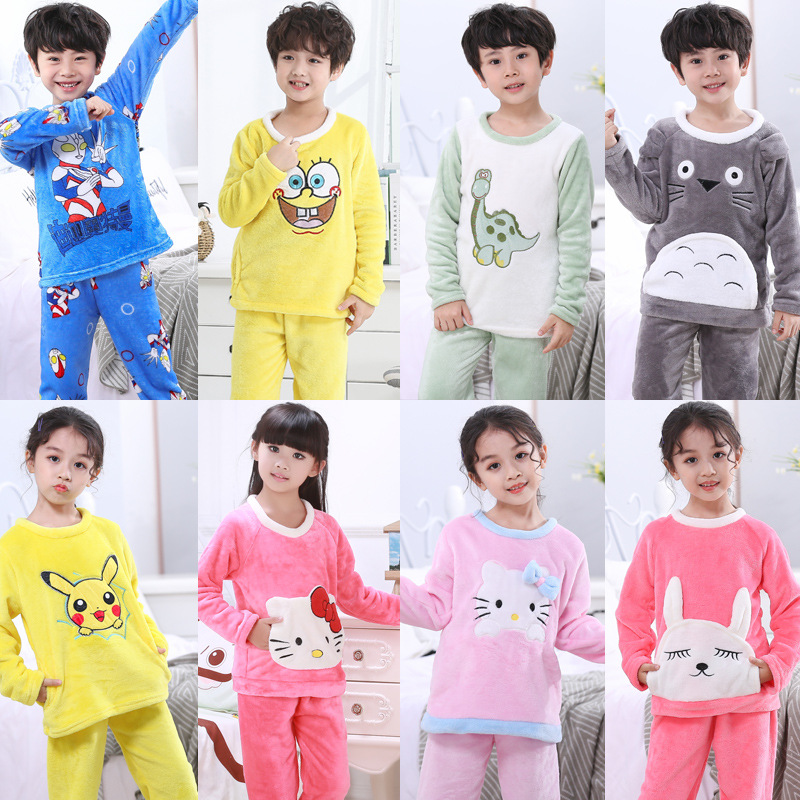 Winter Children Coral Fleece Pajamas Set Warm Flannel Cartoon Sleepwear Girls Boys Loungewear Kids Pyjamas Homewear Nightwear