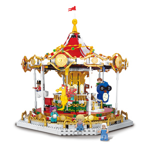 Xingbao City Street Serie The Fancy Carousel Bricks Set Merry-Go-Round Building Blocks Model Fit Lepined 10257 Toys For Children(China)