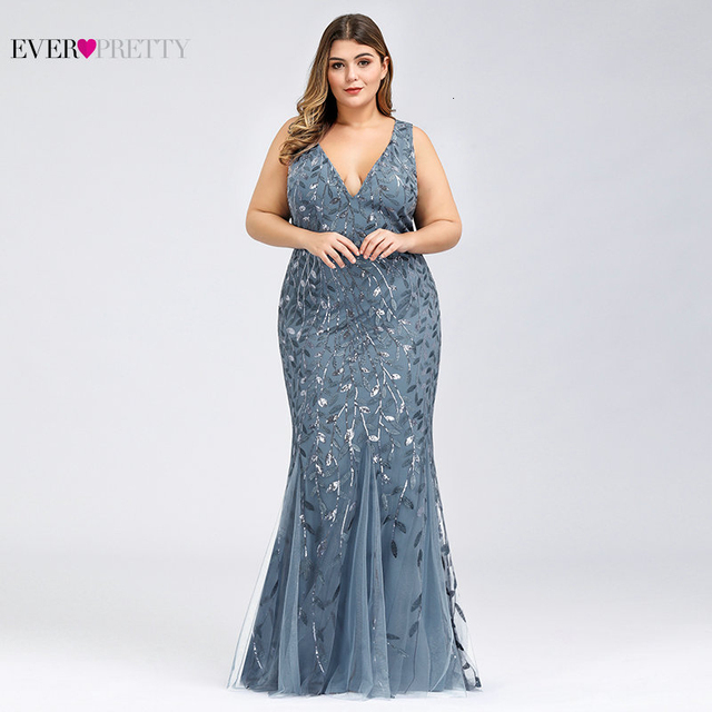 Elegant Plus Size Prom Dresses Long Ever Pretty Robe De Soiree Mermaid V Neck Sequined Wedding Party Gowns Vestidos De Fiesta 5