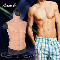 Pecho de mentira KnowU, músculos del vientre Macho, silicona suave para hombre, músculos artificiales de simulación, cuello alto, versión Cosplay crossdress