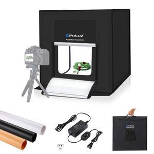 40*40 centímetros portátil Photo Studio Box Fotografia Luz Profissional Tenda Dobrável Tiro de Iluminação Softbox Três-Cor Backdrops
