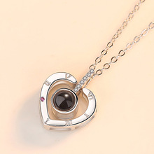 Silver 925 Jewelry 100 Languages I Love You Necklace Heart Shaped Projection Necklace Woman Sweet Romantic Wedding  Jewelry sweet romantic that s ok major suit moon stars pendeloque cut necklace 114swr xiangl silver 925 jewelry christmas gift boho