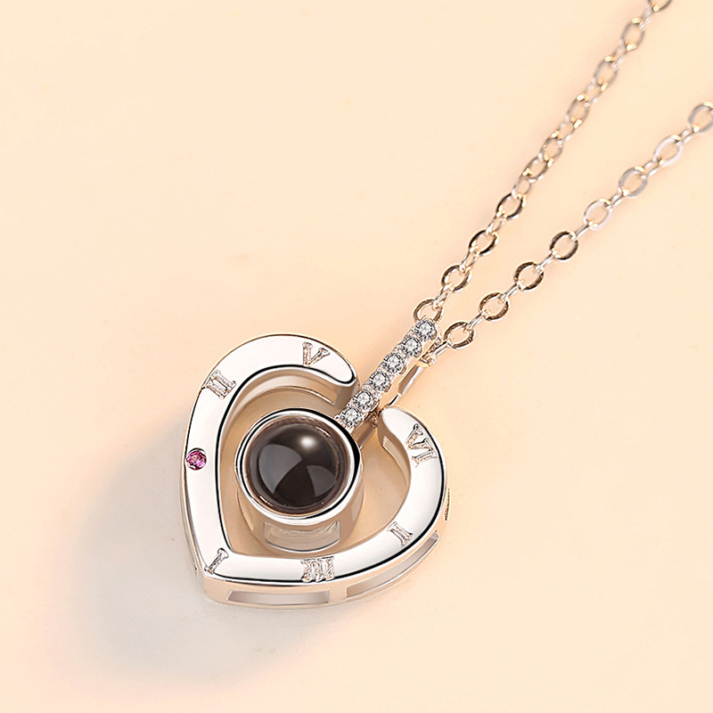 Silver 925 Jewelry 100 Languages I Love You Necklace Heart Shaped Projection Necklace Woman Sweet Romantic Wedding Jewelry