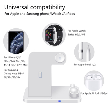 4 in 1 Wireless Charger 10W Fast Charging for iPhone 11/11pro/X/XS/XR/Xs Max/8/8 Plus for Apple Watch 5 4 3 2 Airpods Pencil Pad 1