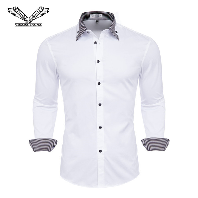 VISADA JAUNA 100% Cotton Double Collar Features Shirts Men Casual Shirt Long Sleeve Luxury Casual Slim Fit Male Shirts N5133
