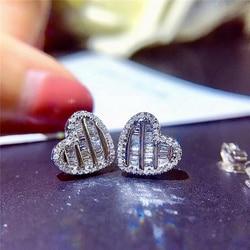 Huitan Classic Heart Shape Women Earrings Jewelry Full Paved Dazzling Crystal Zircon Delicate Gift Female Versatile Earrings Hot