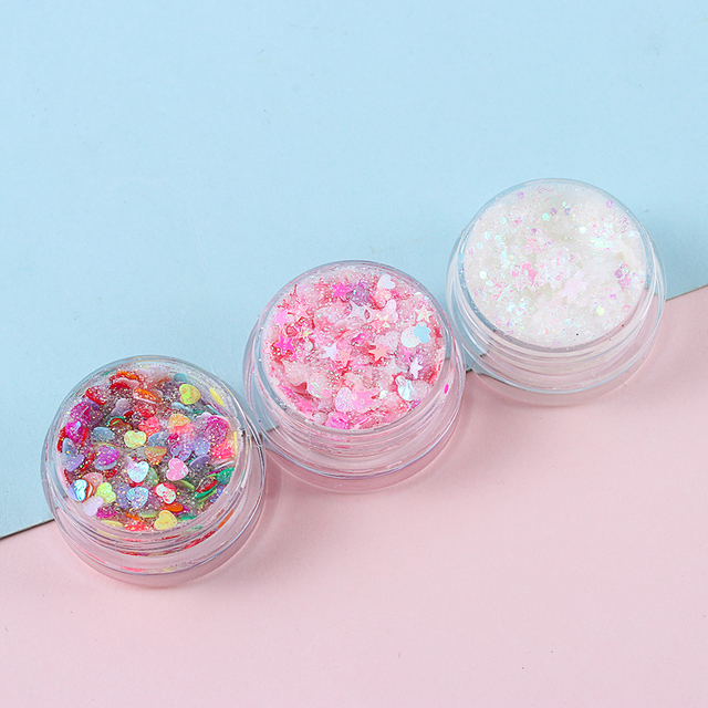 1Pcs Glitter Glam Eye Sparkly Glitter Hair Shimmer Gel Flash Heart Loose Sequins Glitter Eyeshadow Party Face Body Decoration 4
