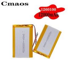 Novo 1260100 3.7v 12000mah bateria de lítio li-po baterias recarregáveis substituição com pwb para tablet dvd gps dispositivo médico