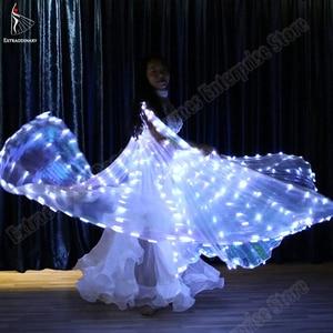 Image 2 - Neue Frauen Bauchtanz Isis Flügel Led Dance Schmetterling Flügel Licht Up Lampe Requisiten Weiß Stafe Leistung 360 Grad Sticks