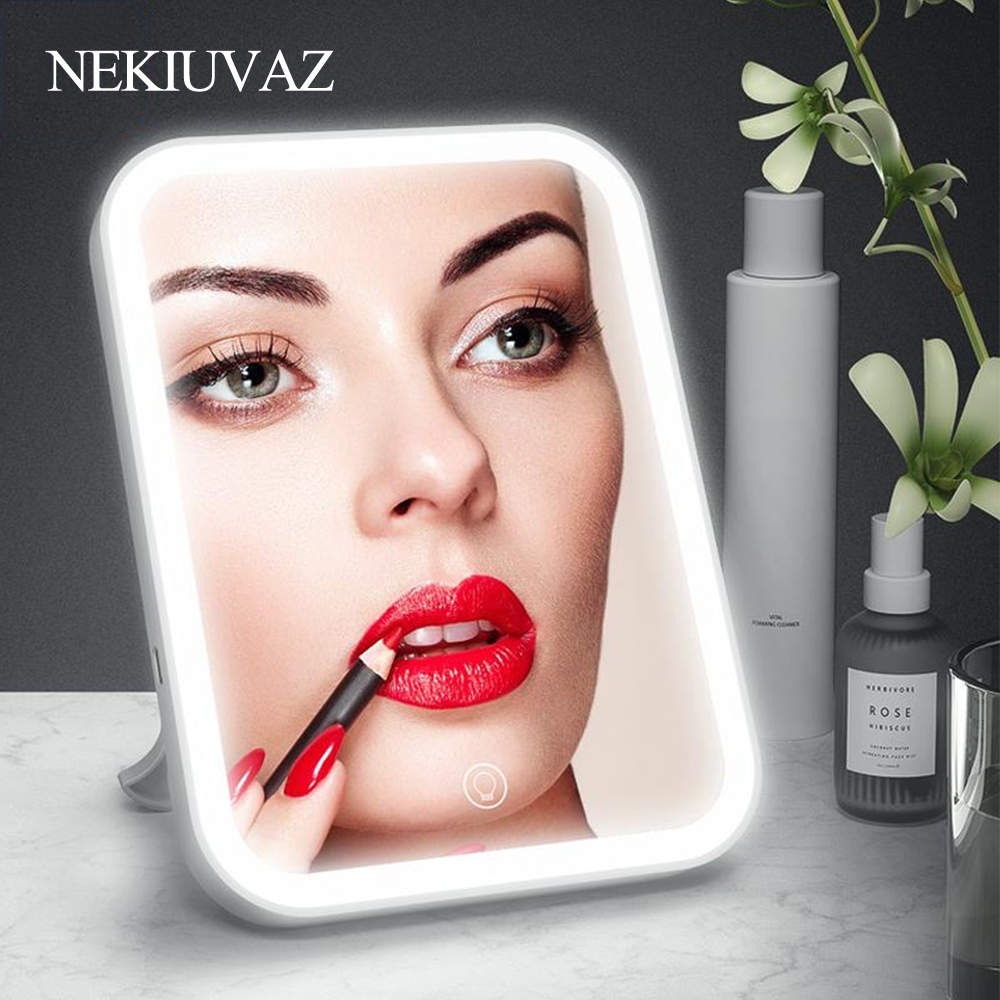 Backlit Mirror LED Makeup Light With Touch-sensitive Control Desktop Lamp Cosmetic Mirror Portable Vanity Mirror With Battery