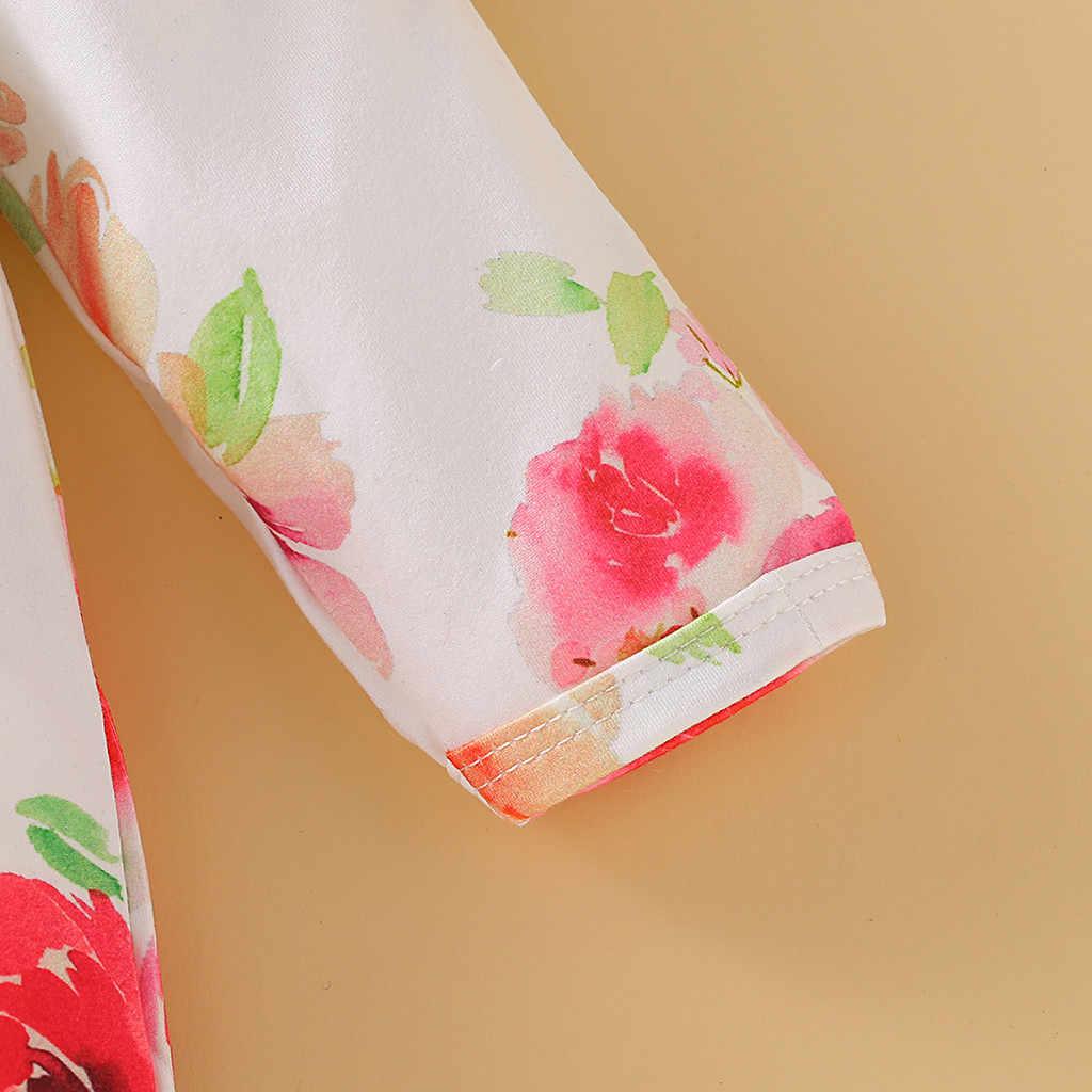สินค้าใหม่พิมพ์ Romper สำหรับทารก Jumpsuit ชุดเด็กทารกเด็กผู้หญิงฤดูใบไม้ร่วงยาวแขนเสื้อดอกไม้ Ruffles Romper เสื้อผ้า roupas