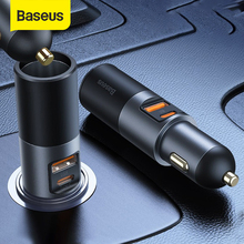 Baseus Car Splitter Cigarette Lighter Socket QC 4.0 3.0 PD PPS 120W Type C Fast Charge Dual USB Car Charger Adapter