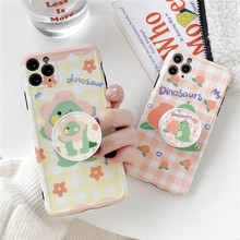 For iphone 11 Pro Max Phone holder cute Peach Flower Dinosaur fashion soft Phone Case for iphone 8plus 7 7plus X XR XS MAX cover