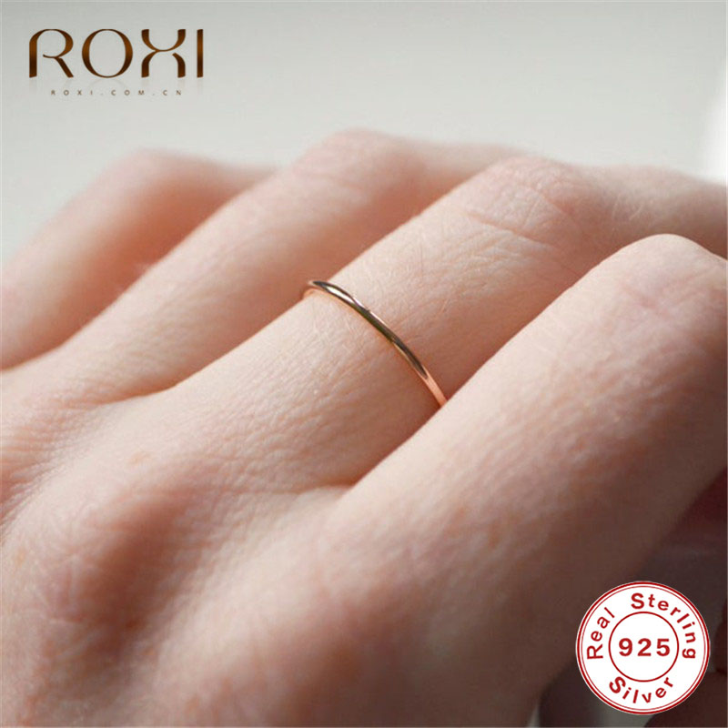 ROXI Simple 925 Sterling Silver Rings For Women Stacking Female Thin Rings Finger Jewelry Dainty Wedding Band Engagement Rings