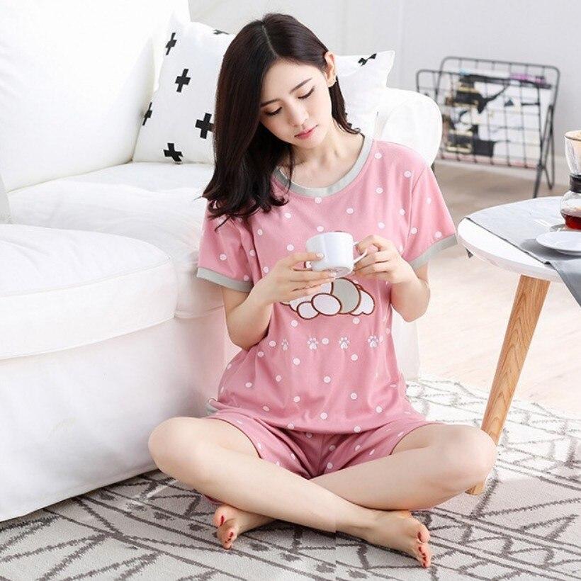 Summer Short-sleeved Women's Pajamas Women's Homewear Set Korean-style Crew Neck Women's Thin Pajamas Milk Si Pi