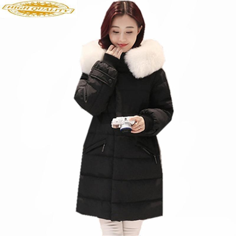 2019 Women's Down Jacket White Duck Winter Coat Fur Collar Female Jacket Warm Hooded Women Parka Casaco Feminino WXF405