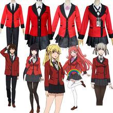 Anime kakegurui traje cosplay jabami yumeko cosplay traje japonês uniforme do ensino médio meninas roupas femininas ternos perucas