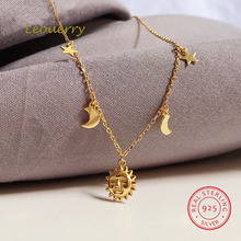Leouerry 925 Sterling Silver Beautiful Sun Moon Star Necklace 14K Gold Plated Clavicular Chain Necklace for Women Simple Jewelry
