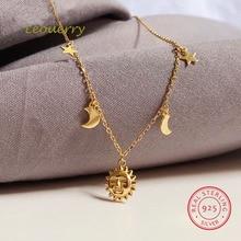 Leouerry 925 ayar gümüş güzel güneş ay yıldız kolye 14K altın kaplama klavikula zincir kolye kadınlar için basit takı