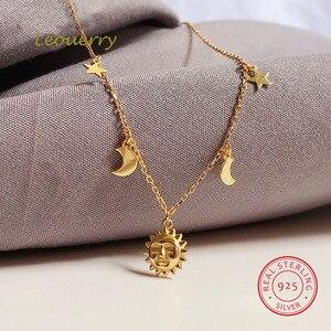 Image 1 - Leouerry collar de Luna y estrella para mujer, de Plata de Ley 925, cadena clavícula bañada en oro de 14K para mujer, joyería Simple
