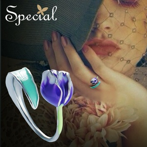 Image 2 - 特別なブランドファッションエナメル花リング紫チューリップエンドオープンリングサイズ調整可能な女性S1720R
