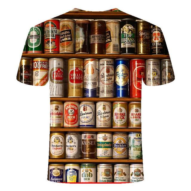 Funny men's short sleeve beer Clock 3D T-shirt, round neck large digital printed 2