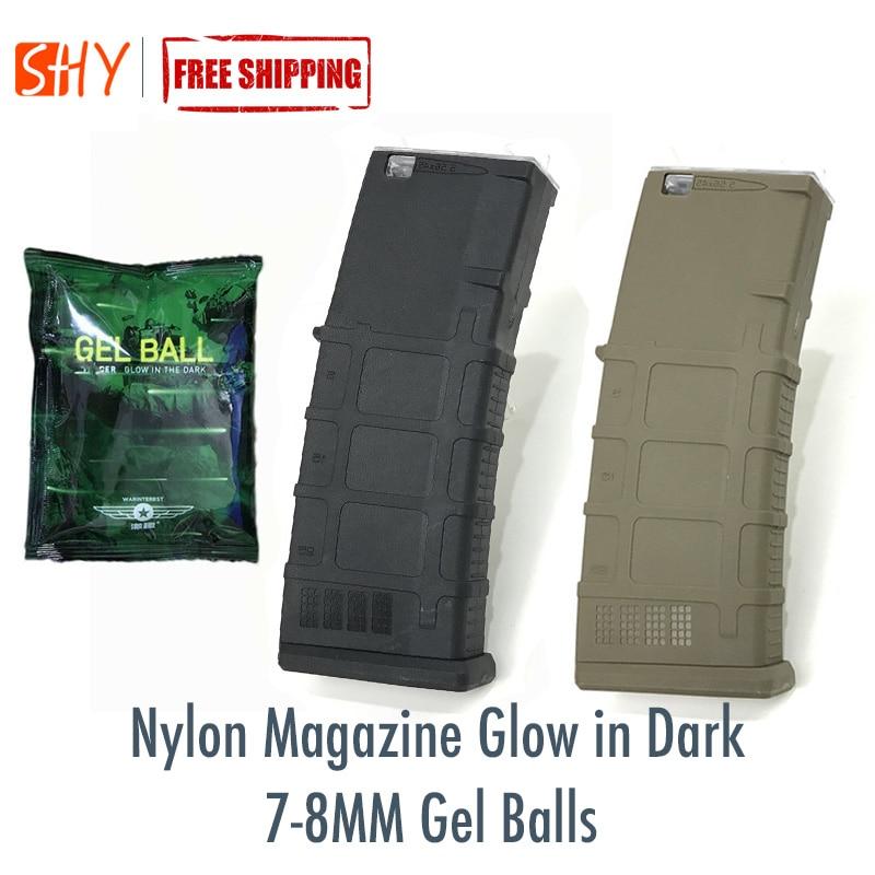 7-8MM Gel Balls Nylon Magazine Glow In Dark For JInMing Gen9 J9 Water Gel Ball Blaster AEG Airsoft
