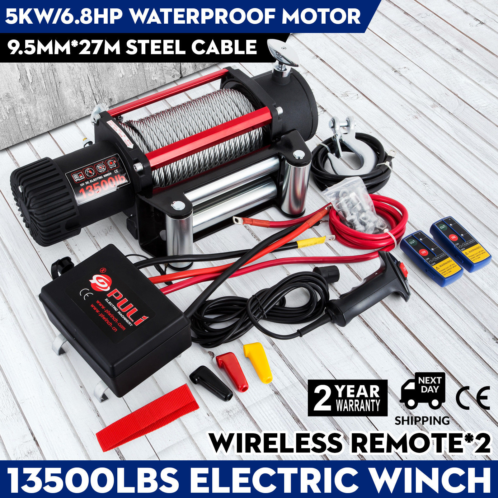 13500lbs/6123.5 Kg 12V Recovery Electric Winch Truck Trailer Rope Remote Control