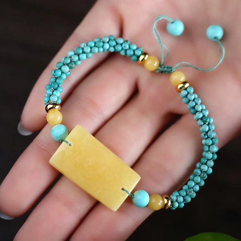 Fine JoursNeige Hand Woven Bracelets Blue Beads with Yellow Natural Stone Bracelets for Women Men Classic Fashion Jewelry - 5