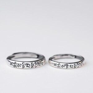Тайское серебристого цвета кольца для пар S925 тибетский Будда шесть слов Ом Мани Падме ГУМ регулируемое кольцо для женщин и мужчин ювелирные...