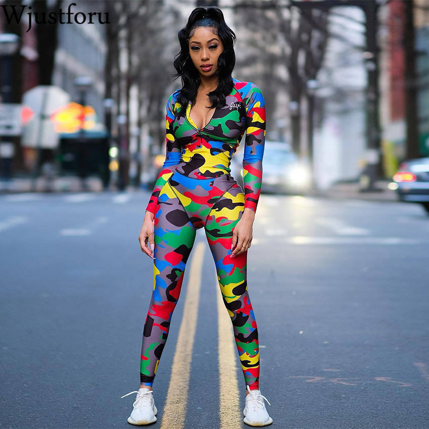 Wjustforu Skinny Patchwork Camouflage Jumpsuit Women Zip Neck Fashion Sporting Bodysuit Female Autmn Long Sleeve Pencil Overalls