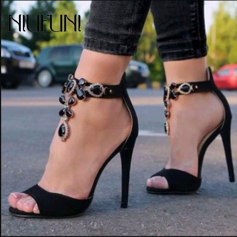 Gladiator High Heels Crystal Rhinestone Sandals Women Peep Toe Ultra Stiletto Sandals Zip Roman Shoes For Women Plus Size 35-42
