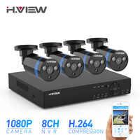 H. View 8ch CCTV камера система безопасности комплект 4 1080P CCTV камера система безопасности комплект 1080P комплекты видеонаблюдения наружные комплек...