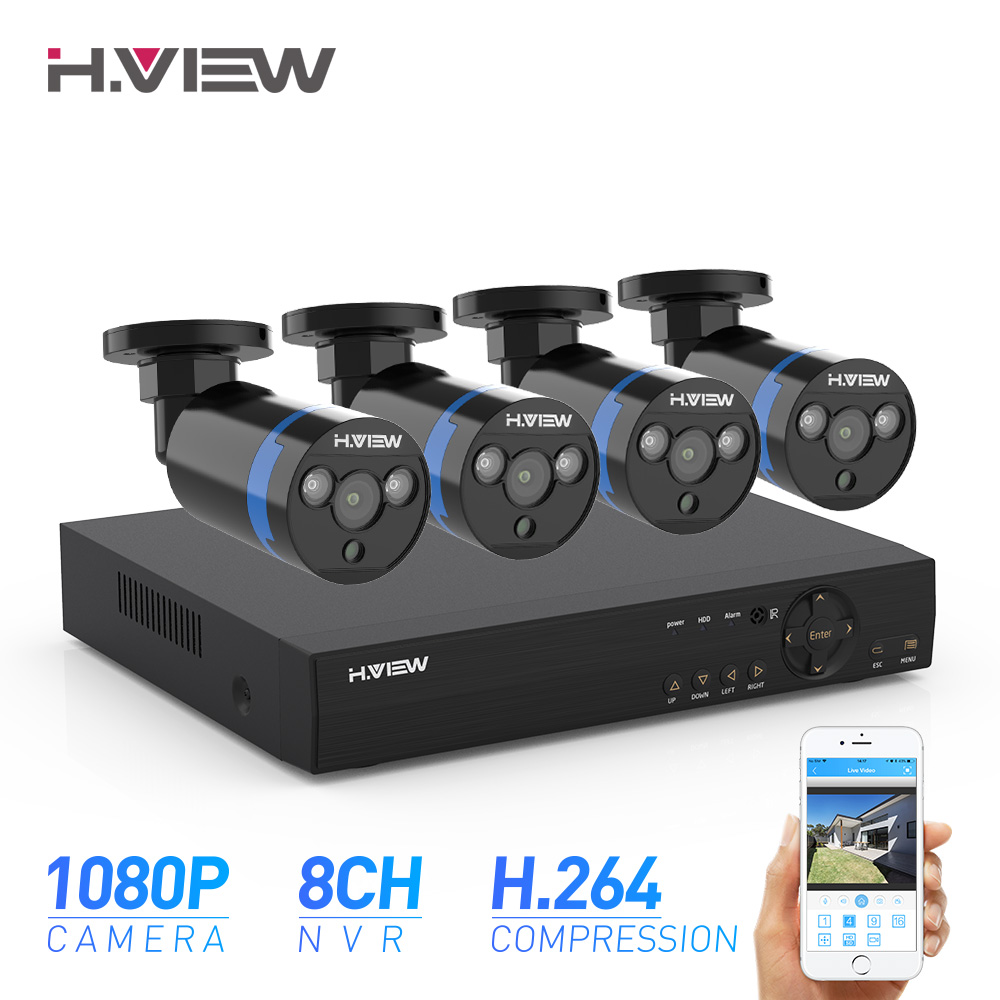 H.View 8ch CCTV Camera Security System Kit 4 1080P CCTV Camera Security System Kit 1080P Video Surveillance Kits Outdoor Kits
