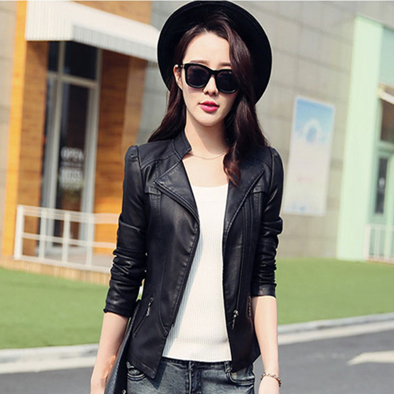 Women's Motorcycle Winter Faux   Leather   Sheepskin Bomber Jacket Black Short Coat Female PU Simply Add Shrug Spring Autumn Fashion