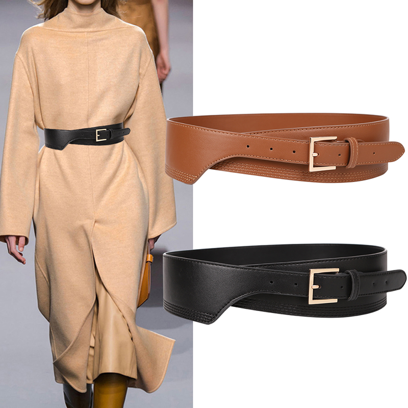 New Fashion Belts For Women PU Leather Gold Square Pin Buckle Cummerbunds HOT Body Corset Cummerbund Female Wide Soft Waistbands