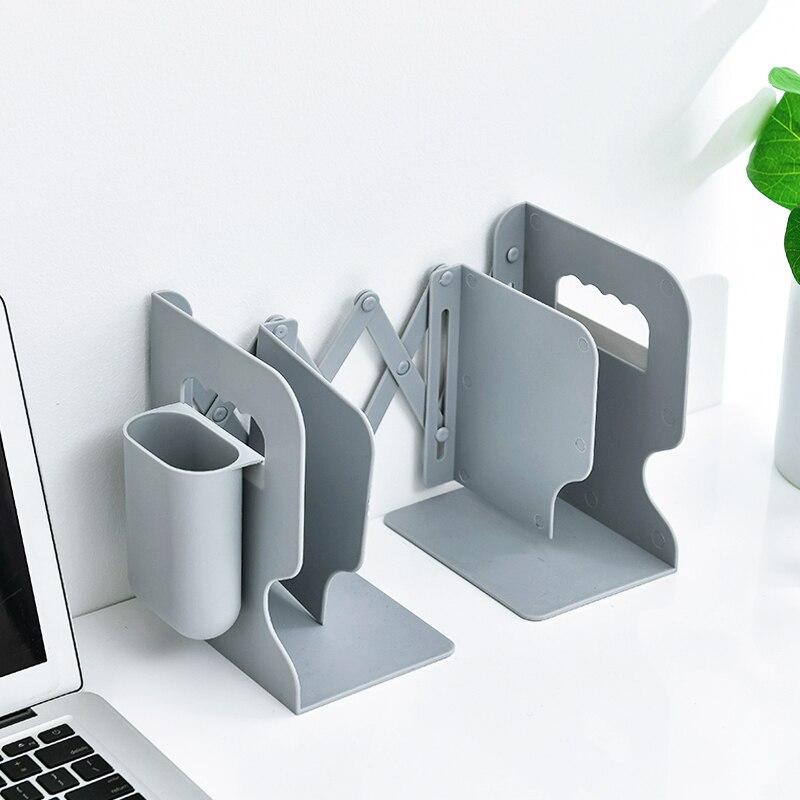 Simple Book Stand With Pencil Case Set Desk Shelf Retractable Shelf Desk Book Holder Bookshelf Bookends Book Shelf Book Ends