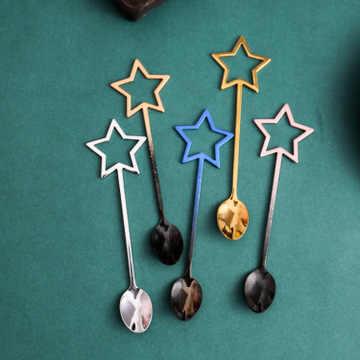 ステンレス鋼フラミンゴピンクコーヒー攪拌スプーン五芒星形五角形ティースプーンティーデザートスクープ食器食器