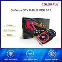 Placa gráfica colorida do jogo de geforce gtx 1660 super 6g 1785mhz/14gbps gddr6 com placas de vídeo duplas do jogo do fã