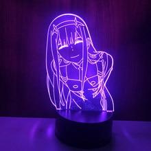 Lámpara LED de noche Zero Two, iluminación de mesa 3D, Anime, Waifu, regalo, Darling In The Franxx, cero dos Lámparas para decoración de cama y habitación