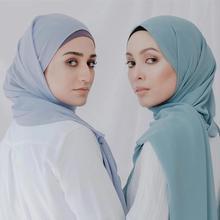 נשים מגניב צבע בועה רגיל צעיף כבד שיפון מוצק ויסקוזה Hijabs צעיף Femme