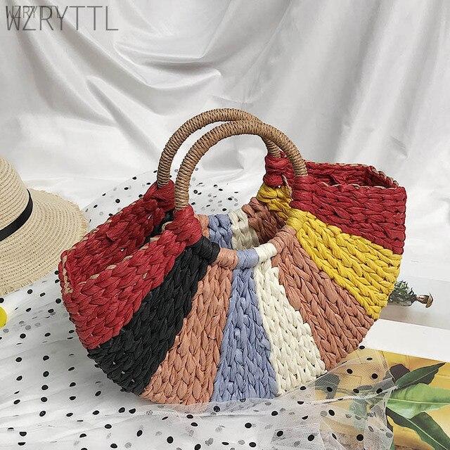 Neue Mode Handgemachte Bohemian Farbigen Stroh Tasche Elegante Einfache Schwarz Weiß Sommer Frauen häkeln Taschen Mädchen Strand Tasche