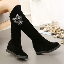 Black bow Boots Women Casual On The Knee Elastic Long Boots Flock Sexy Middle Tube Wedge Winter Ladies Shoes chaussures femme(China)